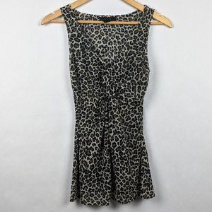 Express Leopard Print Tank Knotted Front L
